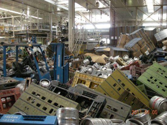 東日本大震災で被災した工場