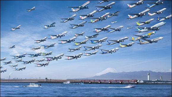 世界を飛び交う飛行機