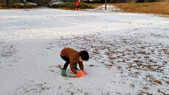 地面に積もった雪